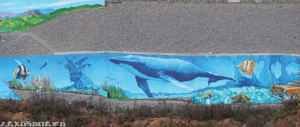 Граффити (стрит арт) на стенах окского сьезда. Нижний Новгород. 2013.